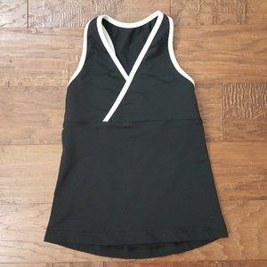 Lululemon Black White Deep V Tank Top WDW sz 2